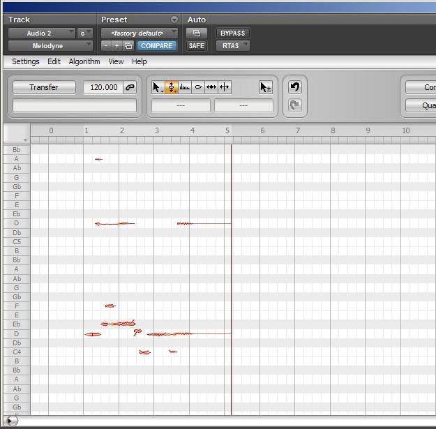 Melodyne - analiza Polyphonic po usunięciu