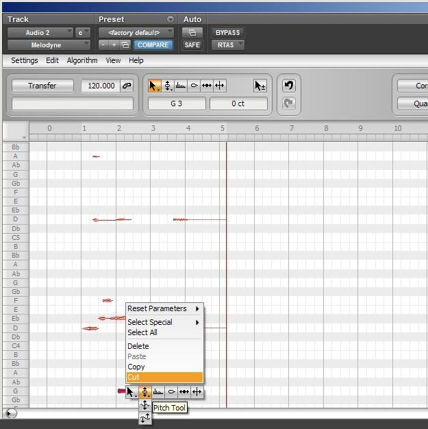 Melodyne - analiza Polyphonic