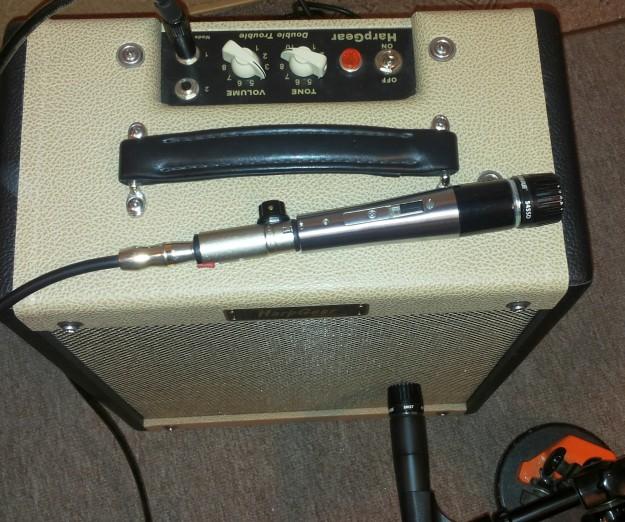 Mikrofon Shure 545SD i wzmacniacz do harmonijki HarpGear