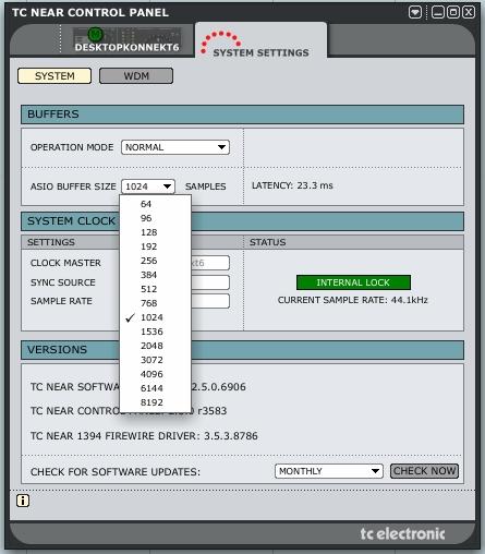 Ustawienia bufora w interfejsie Konnekt 6